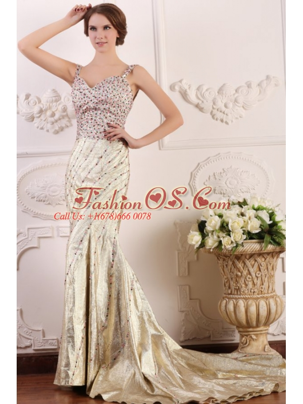 Court Train Column Straps Prom Dress with High Slit and Beading