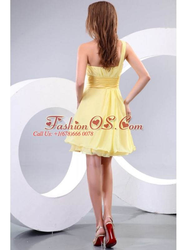 Empire One Shoulder Beading Chiffon Short Prom Dress Prom Dress
