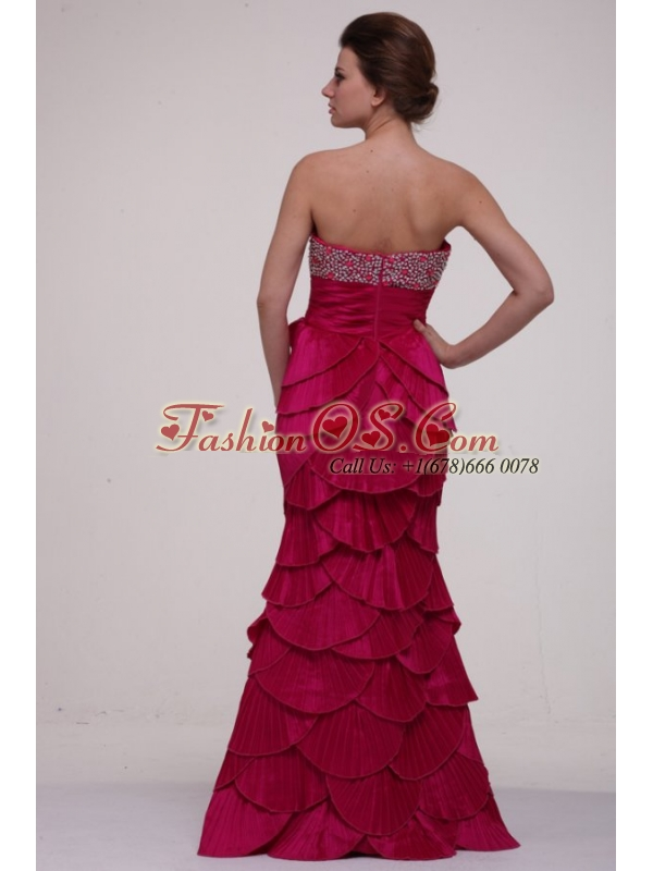 Hot Pink Column Strapless Prom Dress with Beading and Layers