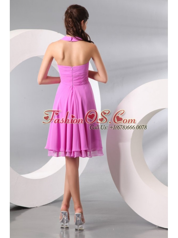 Lilac Halter Top Ruching Knee-length Chiffon Prom Dress