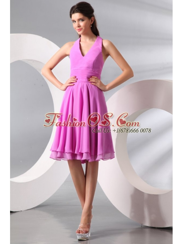 Lilac Halter Top Ruching Knee-length Chiffon Prom Dress