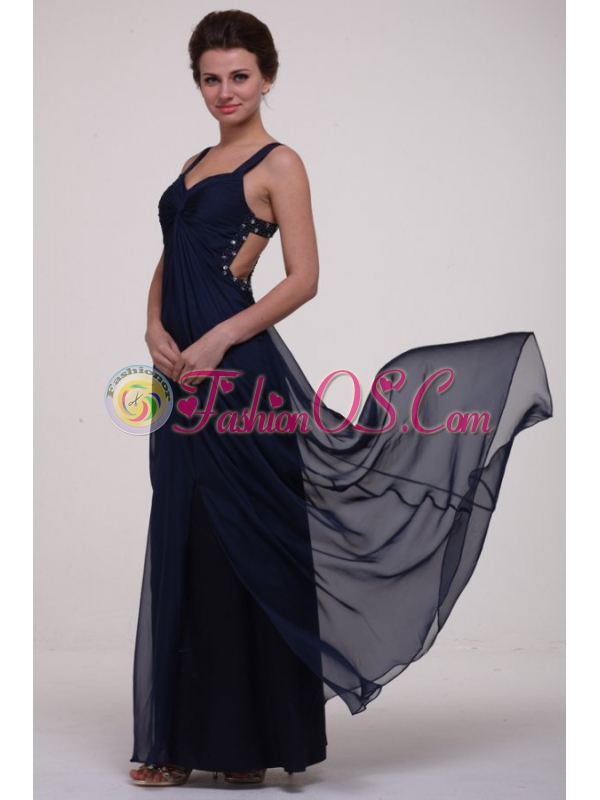Navy Blue Empire Straps Prom Dress with Beading and Ruching