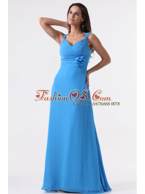 Simple Blue Straps Ruching Hand Made Flower Floor-length Chiffon Prom Dress