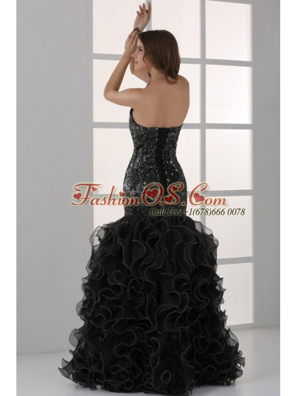 Sweetheart Black Mermaid Sequins Ruffles Prom Dress with Beading