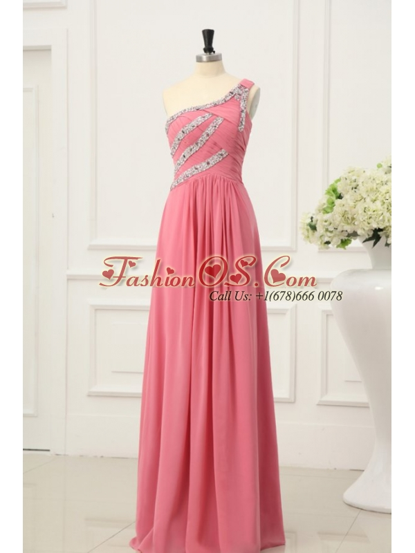 Watermelon Red Prom Dress with Beaded One Shoulder