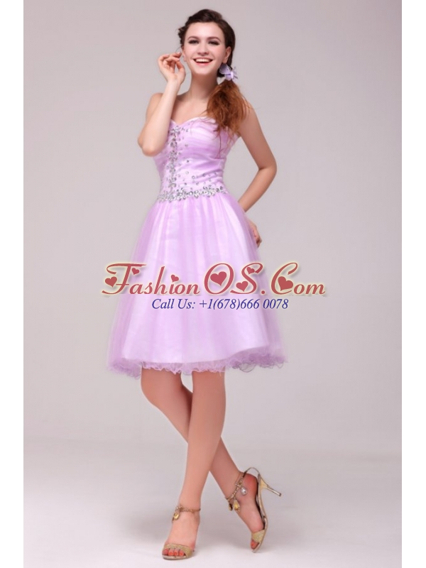 A-line Lavender Sweetheart Beading Prom Dress for Summer