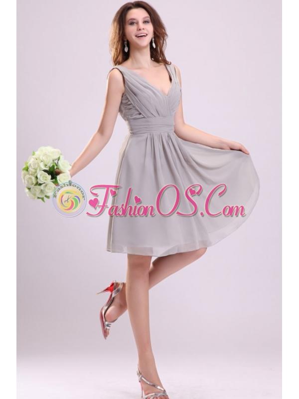 Empire Gray V-neck Ruching Chiffon Knee-length Prom Dress