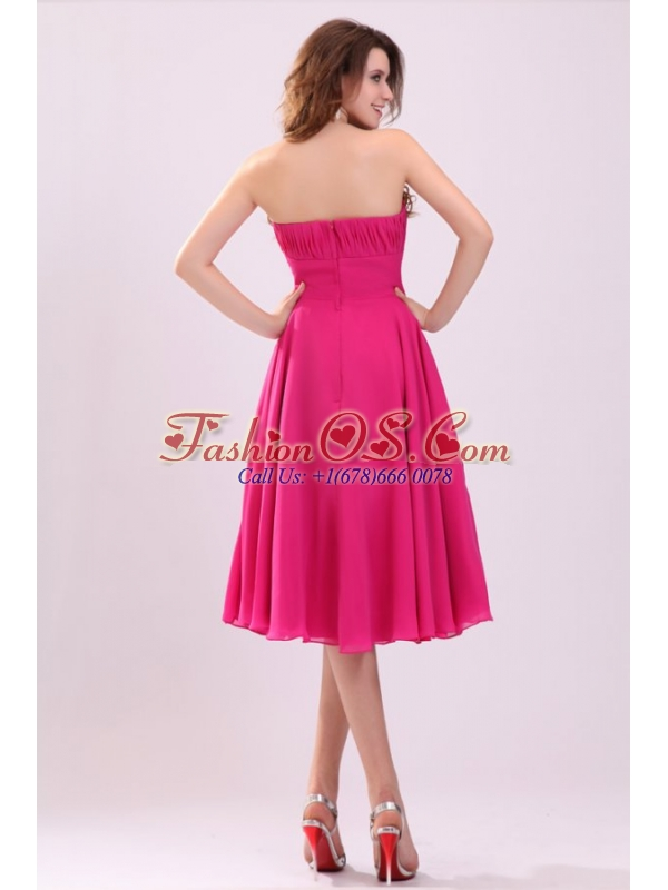 Empire Hot Pink Strapless Ruching Chiffon 2013 Prom Dress