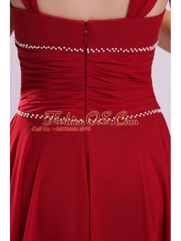 Popular A-line V-neck Prom Dress in Wine Red with Knee-length