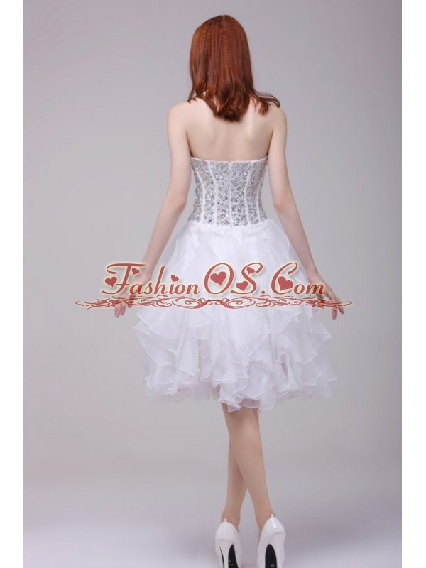 Princess White Beading and Ruffles Organza Prom Dress