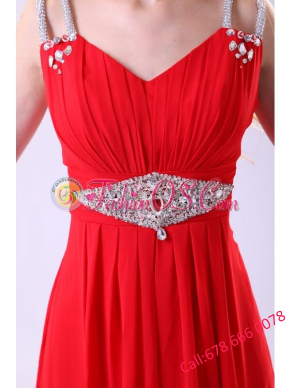 2014 Empire V-neck Red Floor-length Beading Chiffon Prom Dress