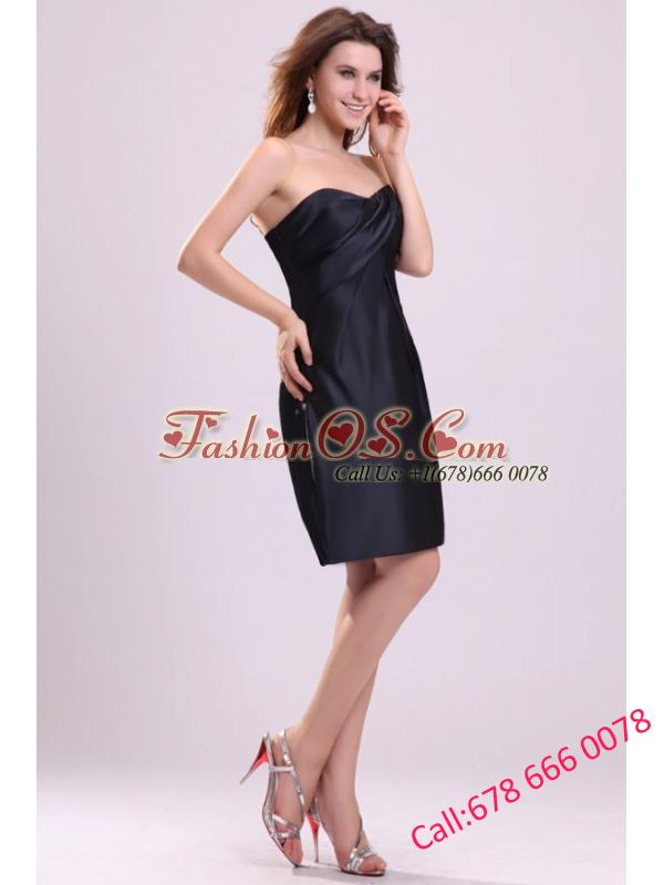 A-line Sweetheart Navy Blue Ruching Taffeta Knee-length Prom Dress
