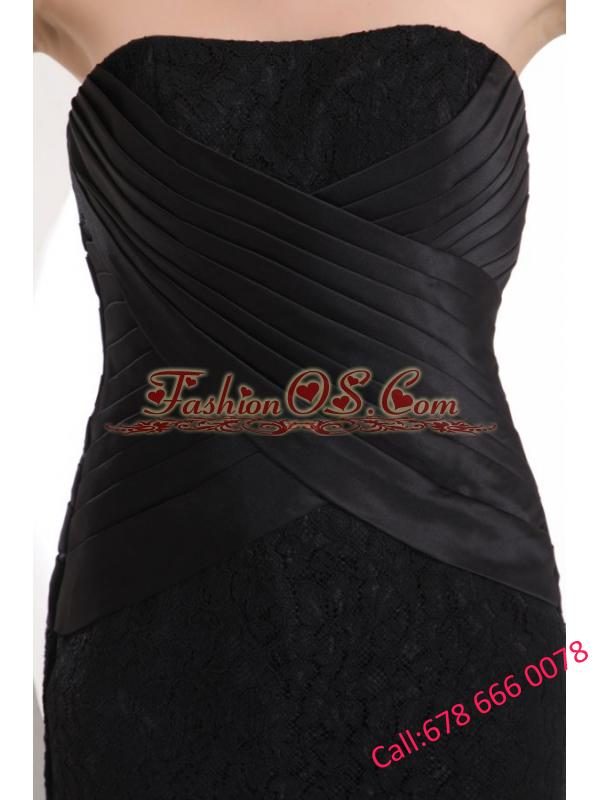 Black Column Strapless Ankle-length Lace Prom Dress with Ruching