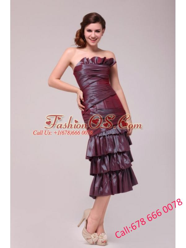Burgundy Column Tea-length Prom Dress with Ruffled Layers
