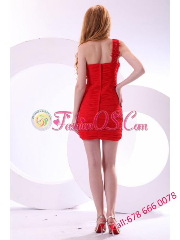 Cheap Column One Shoulder Chiffon Appliques Mini-length Red Prom Dress
