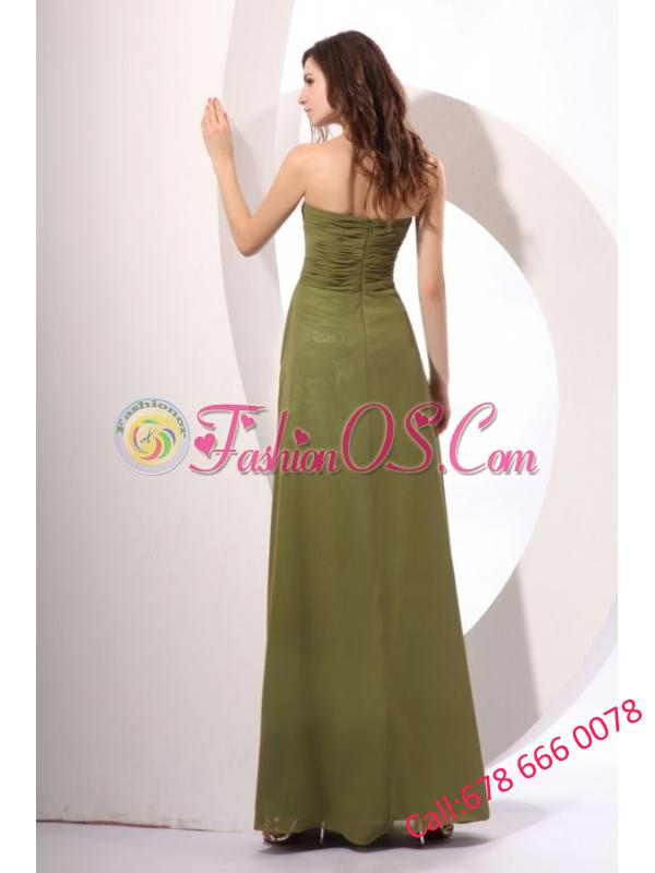 Chiffon Empire Sweetheart Floor-length Olive Green Prom Dress with Ruches