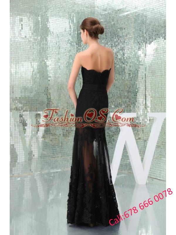 Column Black Strapless Appliques Tulle Formal Evening Prom Dress
