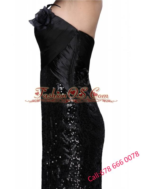 Column Black Strapless Sequins High Slit Brush Train Prom Dress