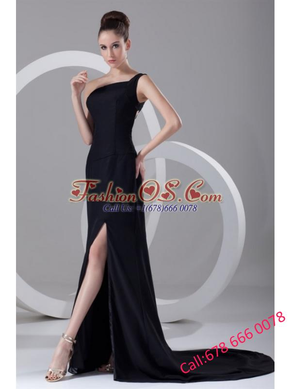 Column One Shoulder Black Ruching Prom Dress with Brush Train
