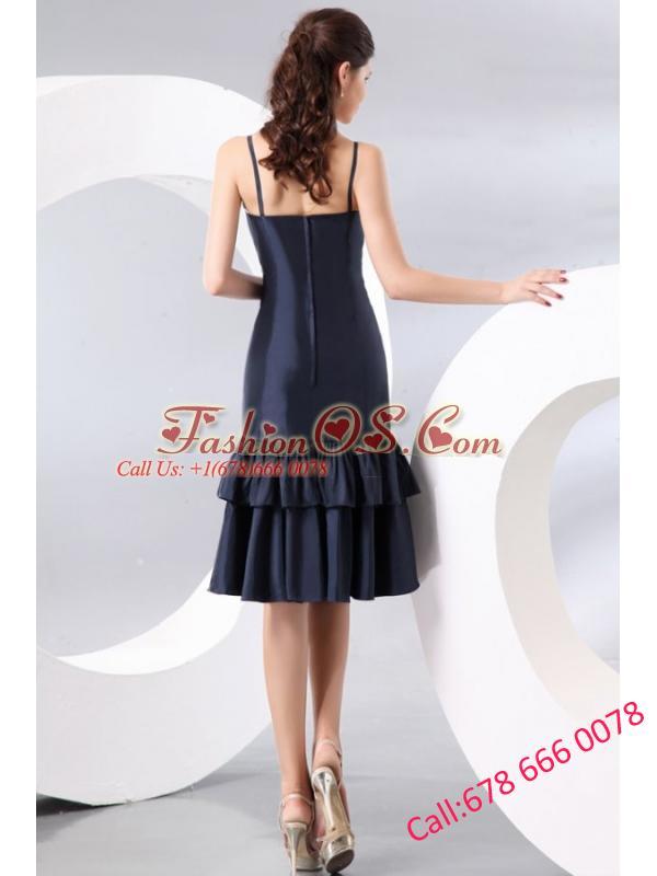 Column Spaghetti Straps Taffeta Navy Blue Prom Dress