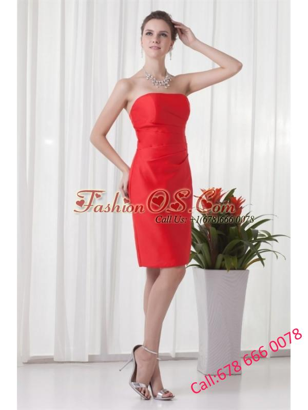 Column Strapless Mini-length Red Ruching Taffeta Prom Dress
