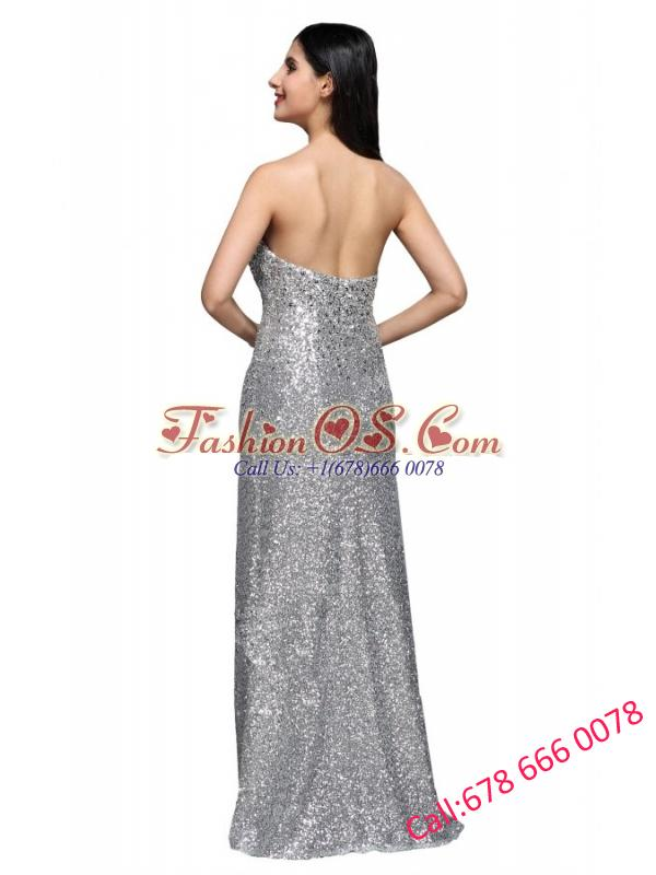 Column Sweetheart Silver Sequins High Slit Floor-length Long Prom Dress