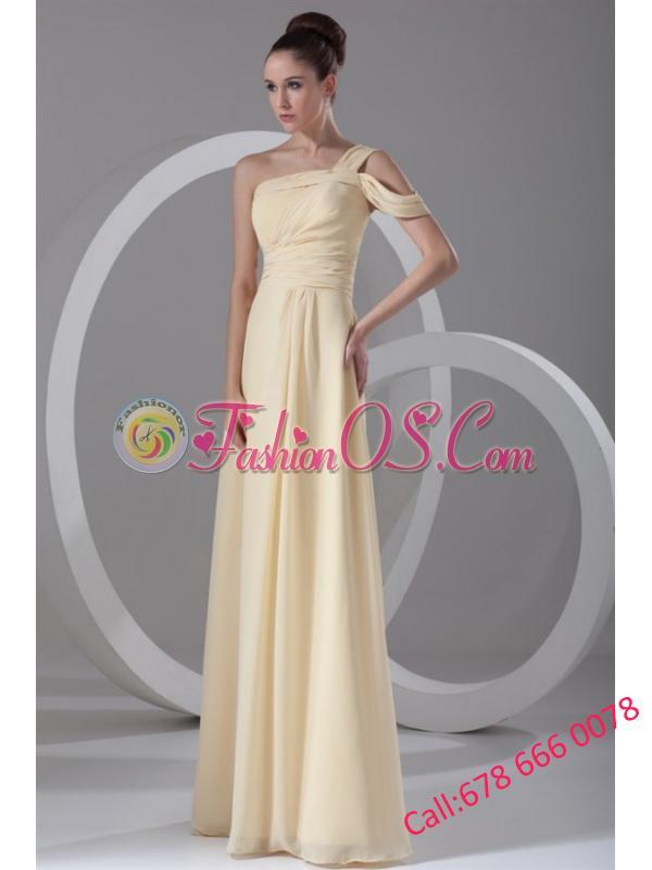 Elegant Empire One Shoulder Chiffon Ruching Champagne Prom Dress