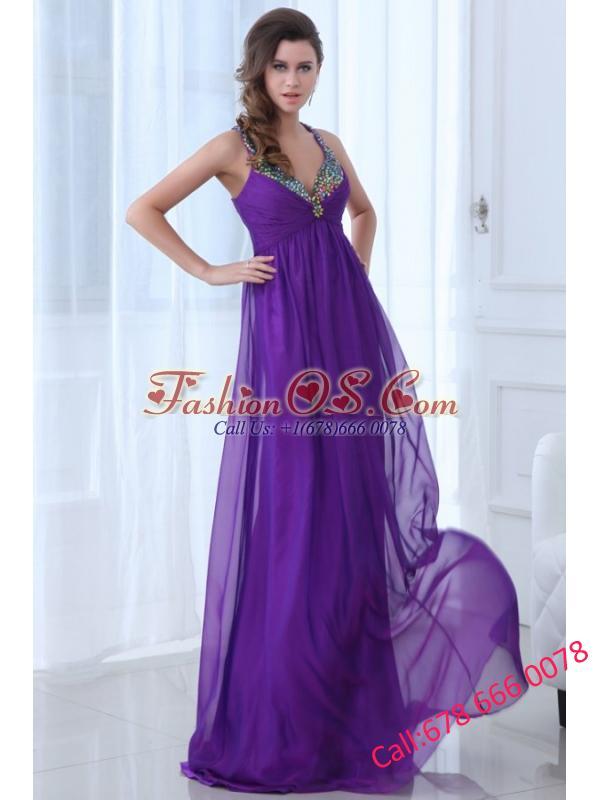 Empire Eggplant Purple Beading Straps Ruching Chiffon Prom Dress