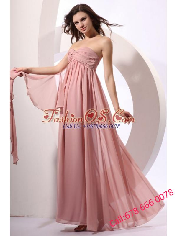 Empire Sweetheart Floor-length Ruche Peach Chiffon Prom Dress