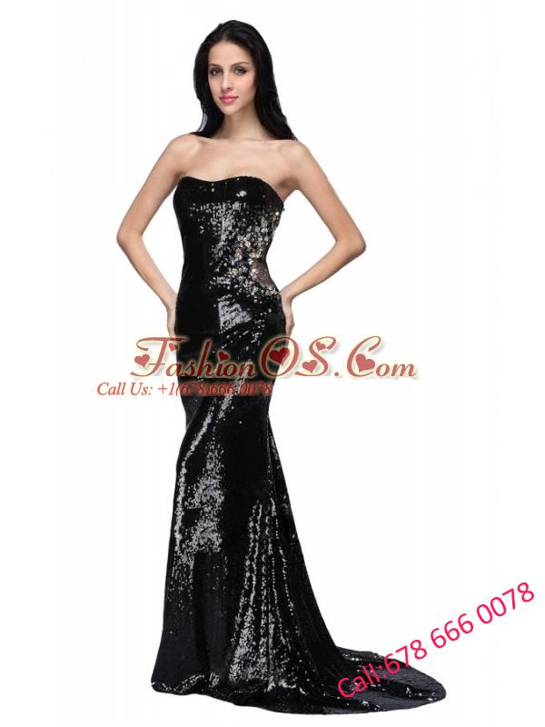 Mermaid Black Strapless Sequins Brush Train Prom Dress
