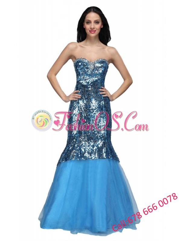 Mermaid Blue Sweetheart Sequins Beading Organza Long Prom Dress