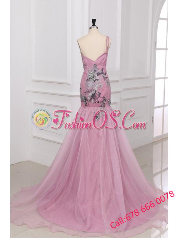 Mermaid One Shoulder Appliques Organza Court Train Pink Prom Dress