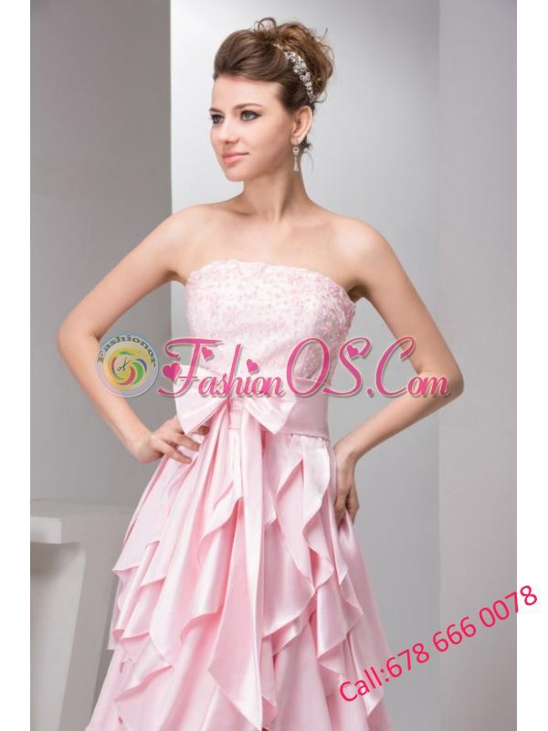 Pretty Empire Strapless Floor-length Taffeta Ruffles and Bowknot Pink Prom Dress