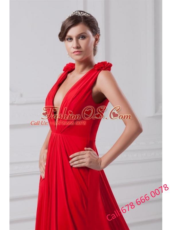 Red Empire V-neck Chiffon Floor-length Ruching Prom Dress