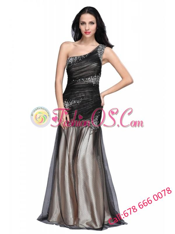 Sexy Column One Shoulder Ruching Criss Cross Black Tulle Prom Dress