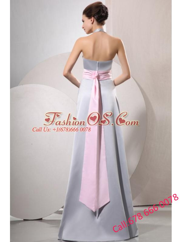 Silver Empire Halter Top Prom Dress with Baby Pink Belt