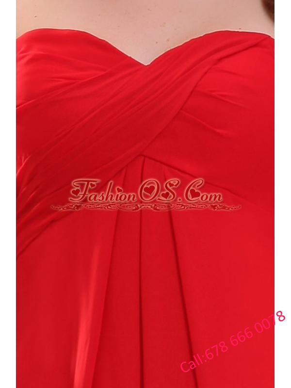 Simple Empir Sweetheart Floor-length Chiffon Ruching Red Prom Dress