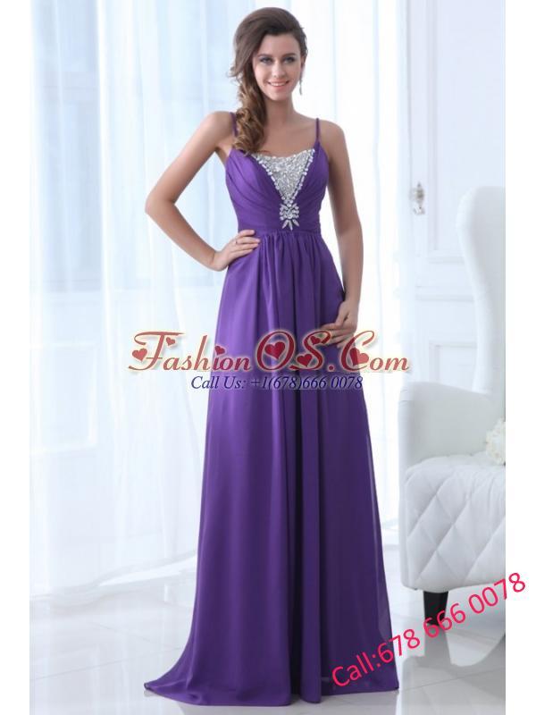 Simple Empire Straps Floor-length Chiffon Beading Purple Prom Dress