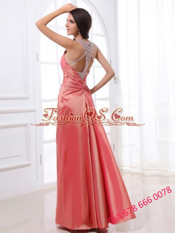Watemelon Column Beading Square Floor-length Prom Dress