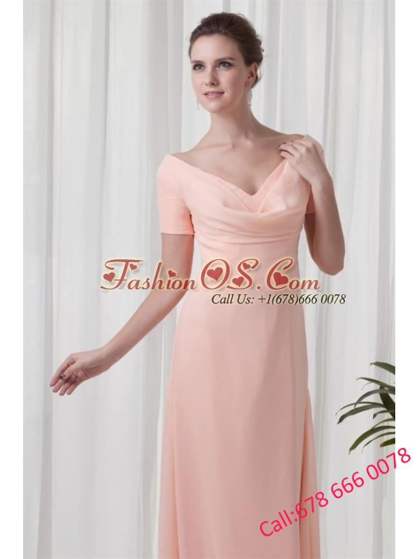 Watermelon Column V-neck Short Sleeves Ruching Chiffon Prom Dress