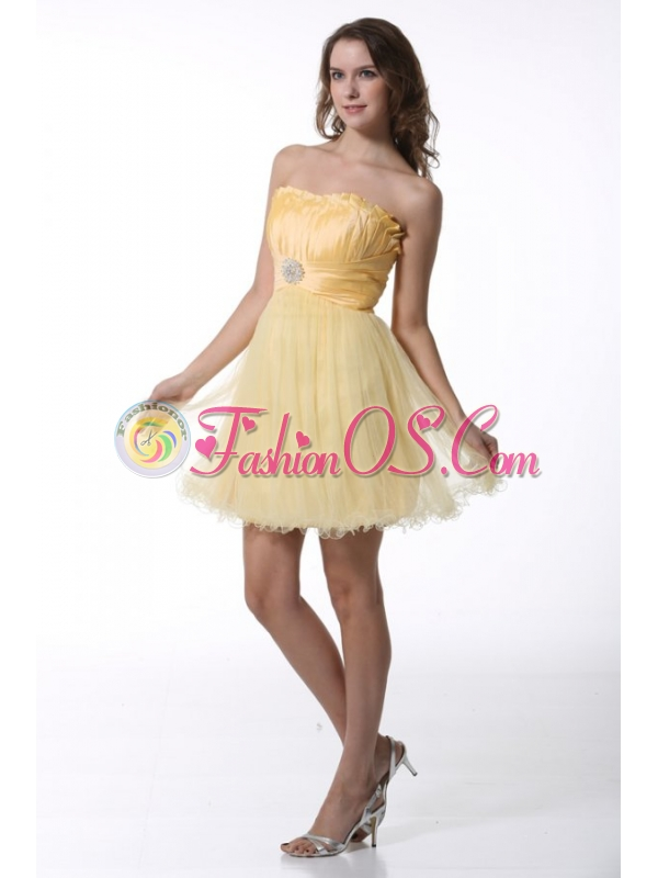 A-line Light Yellow Strapless Prom Dress with Ruching Mini-length