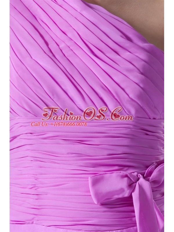 A-line One Shoulder Lilac Chiffon Knee-length Prom Dress