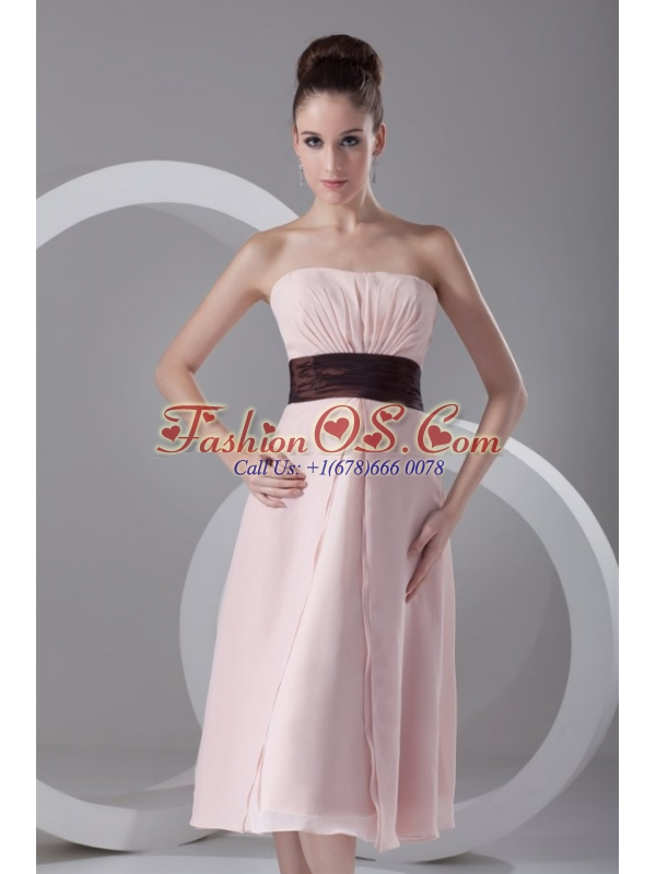 Affordable Empire Strapless Tea-length Chiffon Pink Belt Prom Dress