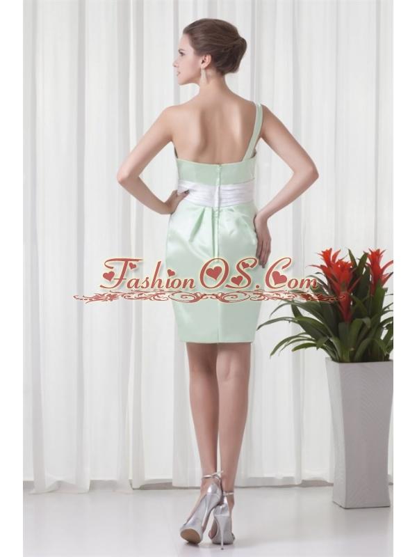 Apple Green Column One Shoulder Taffeta Mini-length Ruching Prom Dress