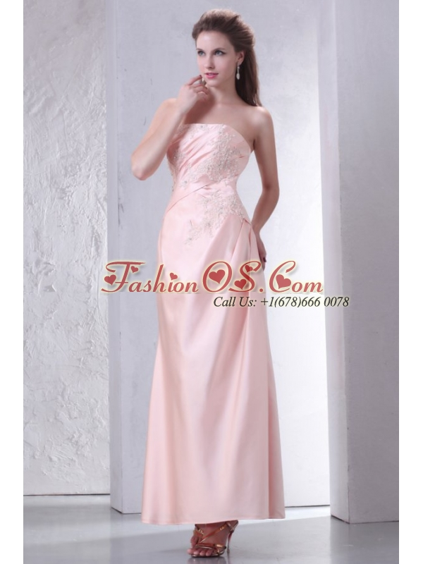 Baby Pink Strapless Column Ankle-length Prom Dress with Appliques