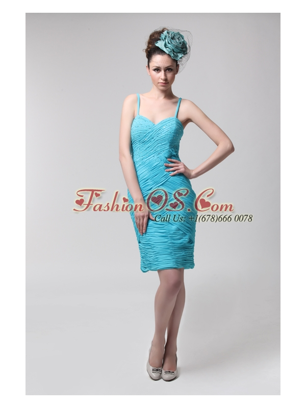 Blue Straps Column Side Zippe Chiffon Knee-length Ruching Prom Dress