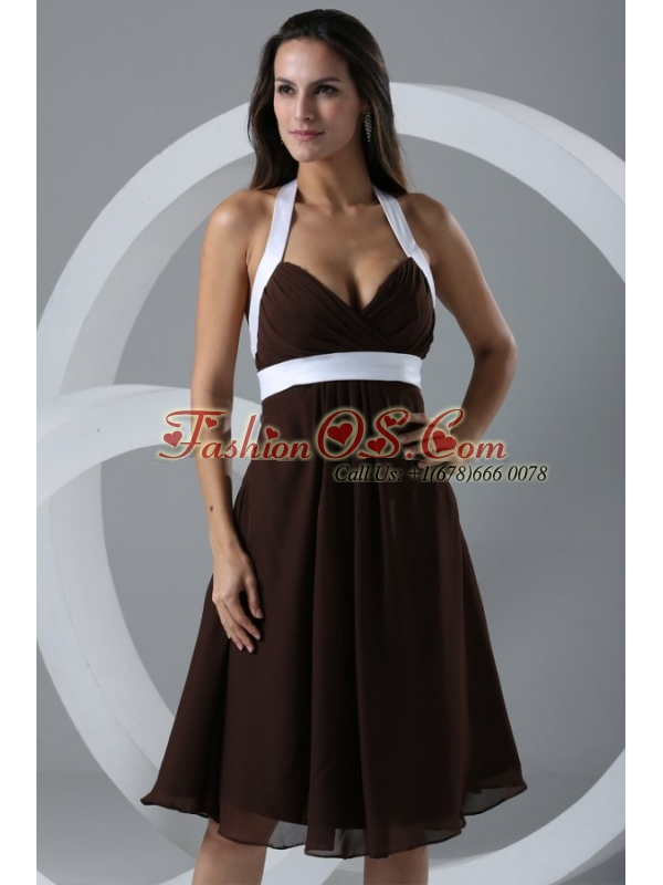 Brown Halter Top Ruching Chiffon Knee-length Prom Dress
