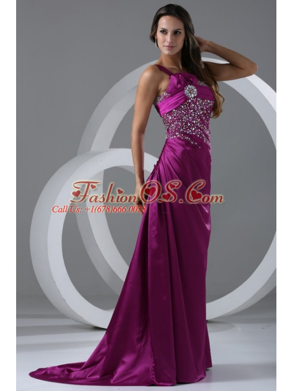 Brush Train Purple A-line One Shoulder Prom Dress with Beading