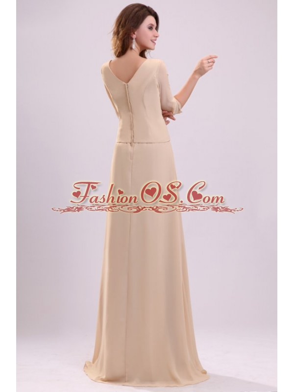 Champagne Column V-neck Ruching Chiffon Prom Dress with Half Sleeves