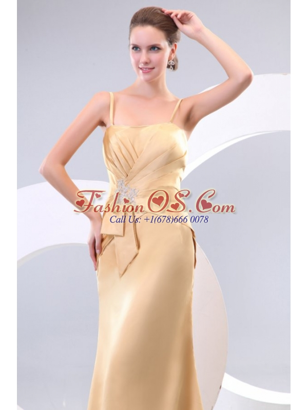 Column Champagne Spaghetti Straps Ruching Appliques Satin Long Prom Dress